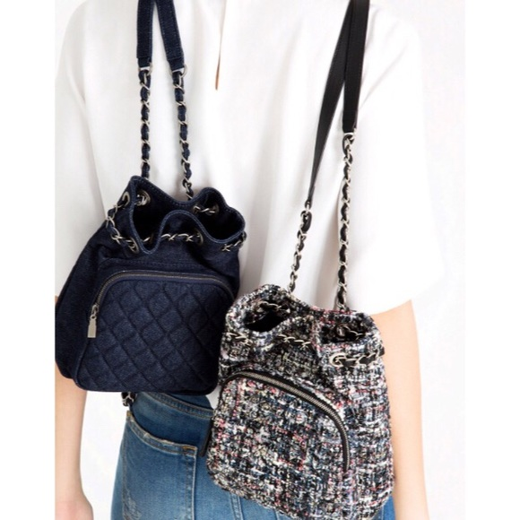 553d57d155 Zara Quilted Mini Denim Backpack NWT